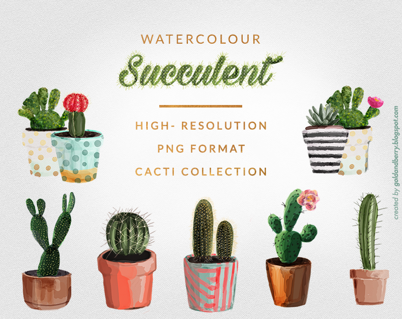 FREEBIES-FREE-Watercolor-succulent-cactus-clip-art-collection-Digital-watercolor-painting-wedding-Individual-Free-High-Res-PNG-files-goldandberry-blog-gold-and-berry-1-1