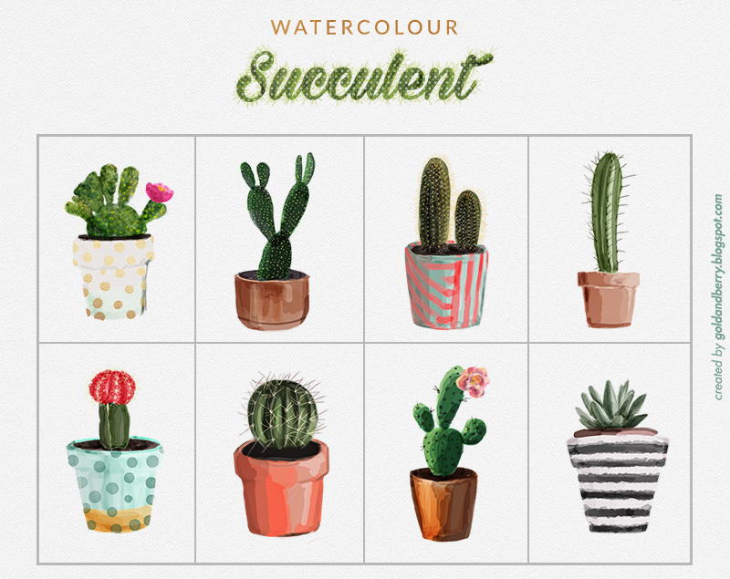 FREEBIES-FREE-Watercolor-succulent-cactus-clip-art-collection-Digital-watercolor-painting-wedding-Individual-Free-High-Res-PNG-files-goldandberry-blog-gold-and-berry-2