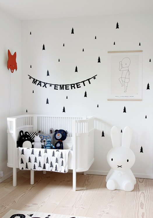 Unique black and white baby boy nursery