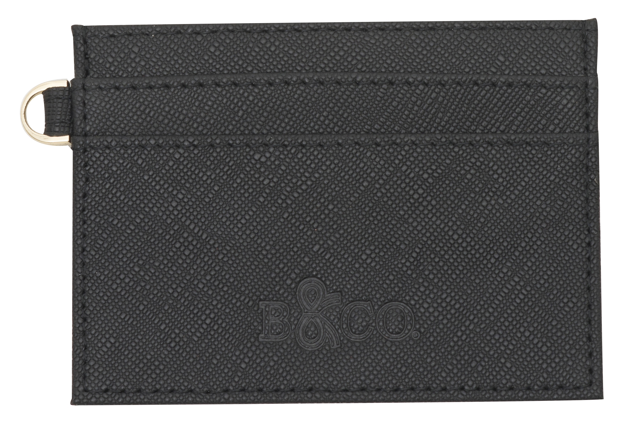Saffiano Leather Card Holder - Black