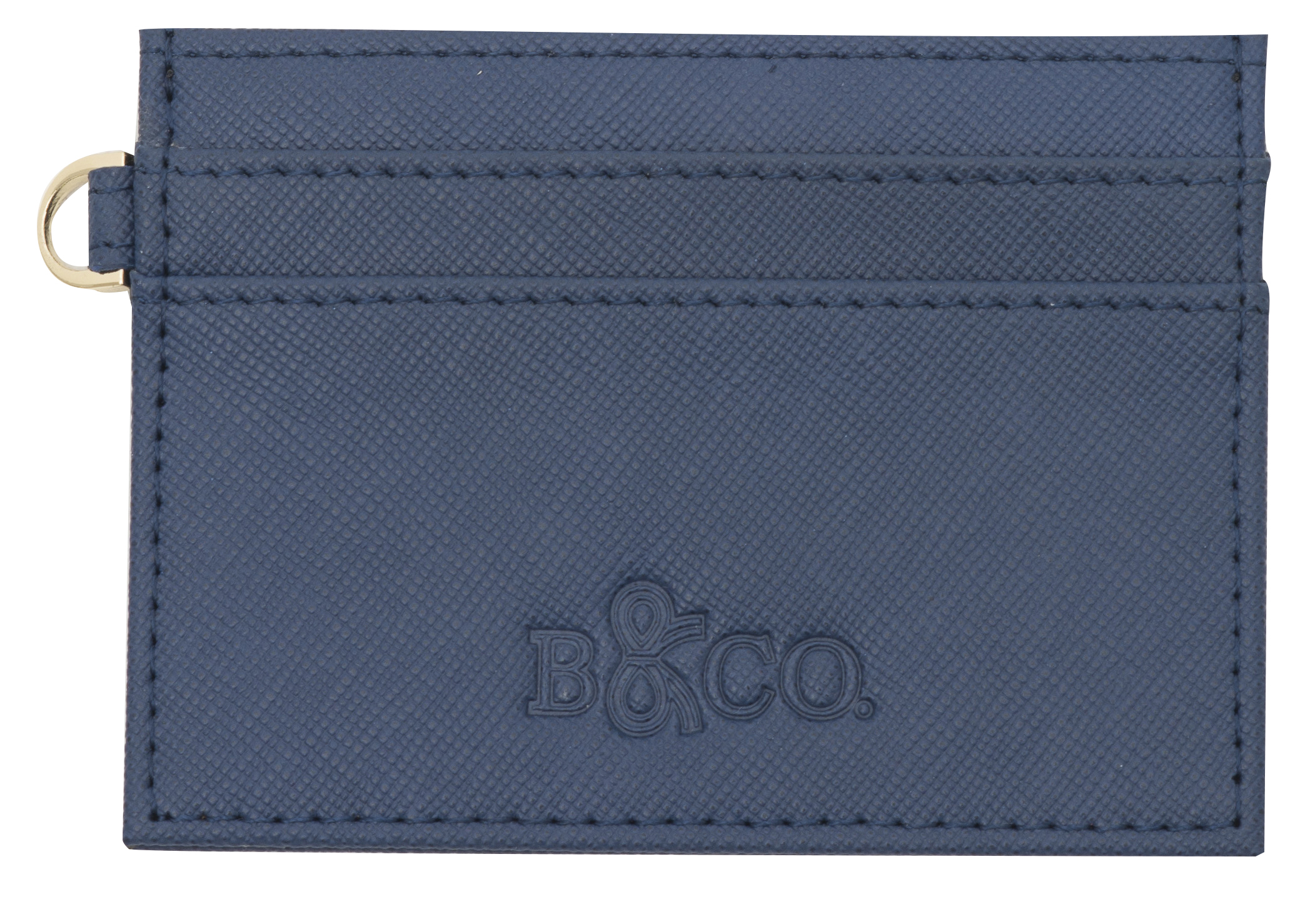 Saffiano Letaher Card Holder - Navy